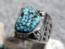 Mens Sterling Silver Spiderweb Turquoise  Ring Navajo Geraldine James Size 10