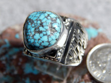 Mens Sterling Silver Spiderweb  Turquoise  Ring Navajo Geraldine James Size 9