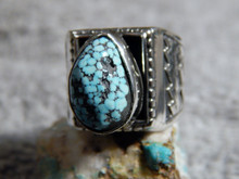 Mens Sterling Silver Spiderweb Turquoise Ring Navajo Geraldine James Size 8 1/4