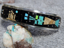 Sterling Silver Turquoise Jet Jasper Inlay Bracelet By Navajo Gilbert Smith