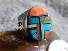 Mens Sterling Turquoise Multi Stone Inlay Ring Navajo Mary Lincoln Size 13 1/4