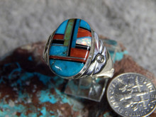 Mens Sterling Turquoise Multi Stone Inlay Ring Navajo Mary Lincoln 12 3/4