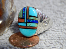 Mens Sterling Turquoise Multi Stone Inlay Ring Navajo Mary Lincoln 12 1/2