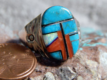 Mens Sterling Turquoise Multi Stone Inlay Ring Navajo Mary Lincoln 12