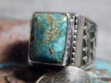Mens Sterling Silver Hubei Turquoise Ring Navajo Lorenzo James  Size 9