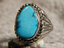 Bisbee Turquoise Sterling Silver Mens Ring By Navajo Lorenzo James Size 12 1/2