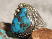 Mens Bisbee Turquoise Sterling Silver Ring By Navajo Robert Shakey Size 16