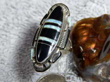 Ladies Sterling Silver Jet Created Opal Inlay Ring Navajo Steve Francisco Size 8