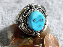 New Mens Sterling Silver Turquoise Ring By Navajo Patrick Yazzie Size 8 1/4