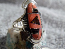 Ladies Sterling Silver Spiny Created Opal Inlay Ring Navajo James Lee Size 6 1/2