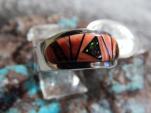 Mens Sterling Silver Spiny  Created Opal Inlay Ring Navajo James Lee Size 8 3/4