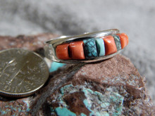 New Sterling Silver Spiny Oyster Turquoise Ring Navajo Fred Begay Size 7 3/4
