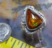 Sterling Silver and Slaughter Camp AZ Fire Agate Gem ring         D83