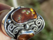Mens Fire Agate Sterling Silver Ring by Navajo Lorenzo James Size 10 New