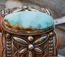New Solid Sterling Silver Bracelet Cuff Royston Turquoise by Navajo Andy Cadman