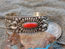 New Sterling Silver Coral Cuff Bracelet  By Navajo Darryl Becenti