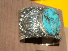 New Sterling Silver Cuff Bracelet Pilot Mountain Turquoise Darryl Becenti