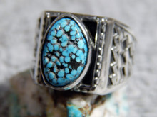 Mens Sterling Silver Spiderweb  Turquoise Ring Navajo Geraldine James Size 13 1/4