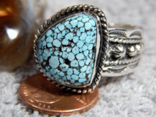 Mens  Black Web Turquoise Sterling Silver Ring by Navajo Russell Sam Size 13 1/4