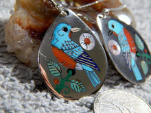 Sterling Silver  Turquoise Shell Bird Earrings Zuni Rudy & Nancy Laconsello