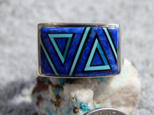 Sterling Silver Turquoise Lapis Inlay Mens Ring Navajo Sonya lewis Size 11 1/4