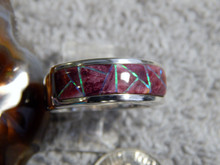 Mens Sterling Spiny Created Opal Inlay Ring Navajo James Lee Size 10 1/4
