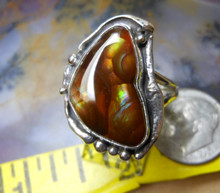 Sterling Silver and Aguascalientes, Mexico Fire Agate Gem ring size 9 1/4  D96
