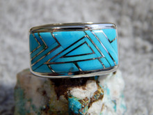 Mens Sterling Silver Turquoise Inlay Ring Navajo Fred Begay Size 10 1/2