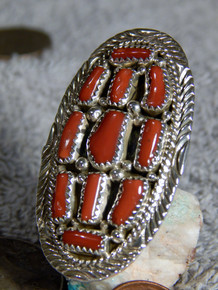 New Ladies Sterling Silver Coral Ring By Navajo Marlene Hale Size 6 1/2