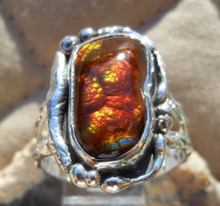 Sterling Silver and Slaughter Camp AZ Fire Agate Gem ring sz 10 3/4  D111