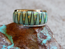 Sterling Turquoise Jet Opal Inlay Ring Navajo James Lee Sonya Lewis Size 12