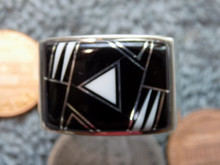 Mens Sterling Silver Jet White Buffalo  Inlay Ring Navajo Fred Begay Size 12