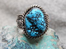 Mens Black Spiderweb Turquoise Sterling Ring Navajo Russel Sam Size 13 3/4 New