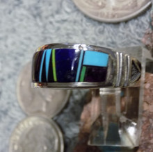 Mens Sterling Turquoise, Jet, Lapis Inlay Ring Navajo Rick Tolino Size  9 1/4