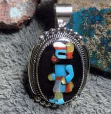 New Sterling Silver Kachina Inlay Pendant by Zuni Artist Beverly Etsate