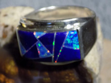 Sterling Mens Lapis  Created Opal Inlay Ring Navajo Marty Yazzie Size 12 1/2