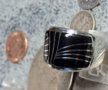 Mens Sterling Silver Jet Micro Inlay Ring Navajo Marty Yazzie Size 10 3/4