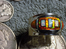 New Unisex Sterling Created Opal Jet Inlay Ring Navajo James Lee Size 12