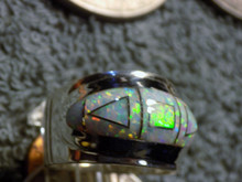 New Unisex Sterling Created Opal Jet Inlay Ring Navajo James Lee Size 10 1/2