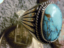 Mens Sterling Silver Sierra Nevada Turquoise Ring Size 10 by Navajo Russell Sam