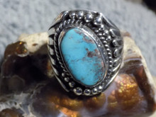 Smoky Bisbee Turquoise Sterling Silver Mens Ring  Navajo Russell Sam Size 10 1/4
