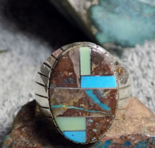 New Mens Sterling Bisbee Blue Turquoise Inlay Ring Navajo Ray Jack Size 13 1/4