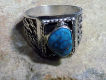 Mens Sterling Silver Bisbee Turquoise Ring Navajo Lorenzo James Size 14 1/2