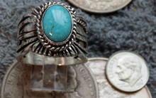 Kingman Turquoise Sterling Silver Unisex Ring Navajo Russell Sam Size 13
