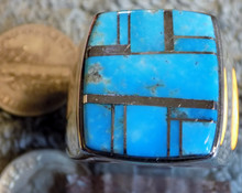 Mens Sterling Silver Turquoise  Inlay Ring Navajo Olsen Charleston Size 12 3/4