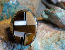 Mens Sterling Silver Tigers Eye Jet Inlay Ring Navajo Ray Jack Size 13 1/4 New