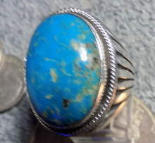 Heavy Mens Sterling Kingman Turquoise Ring Navajo Russel Sam  Size 9 1/2