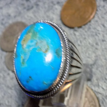 New Heavy Mens Sterling Kingman Turquoise Ring Navajo Russel Sam  Size 10 1/2