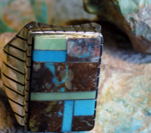 Mens New Sterling Bisbee Blue Turquoise Inlay Ring Navajo Ray Jack Size 13 1/4