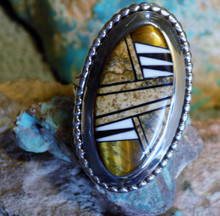 Ladies Sterling Silver Jasper Tiger Eye Inlay Ring Navajo James Lee Size 7 1/4